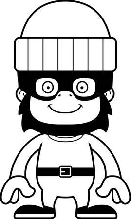 burglars: A cartoon thief gorilla smiling.