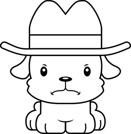 cartoon hat: A cartoon cowboy puppy looking angry. Illustration
