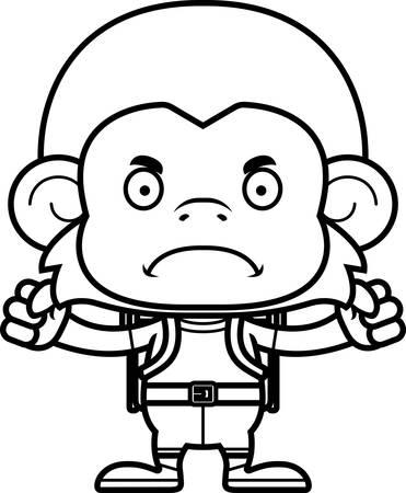 A cartoon hiker monkey looking angry.