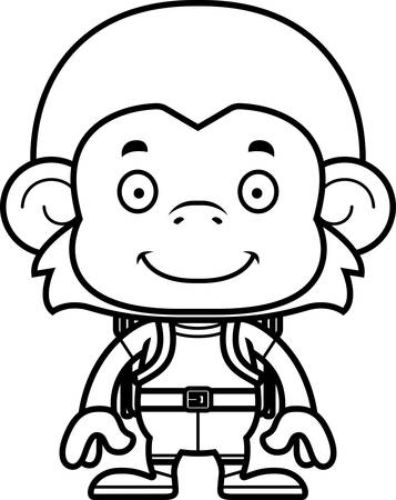 hiker: A cartoon hiker monkey smiling.