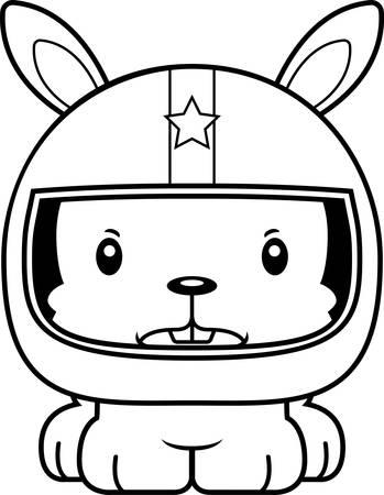 race car driver: A cartoon race car driver bunny looking angry. Illustration