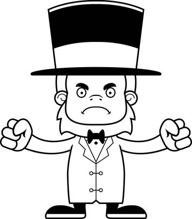 sasquatch: A cartoon ringmaster sasquatch looking angry. Illustration