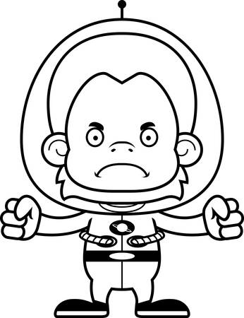 spacesuit: A cartoon spaceman orangutan looking angry.