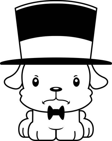 top hat: A cartoon puppy looking angry in a top hat.