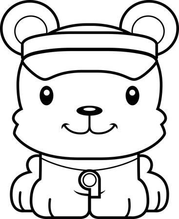 hat with visor: A cartoon lifeguard bear smiling.