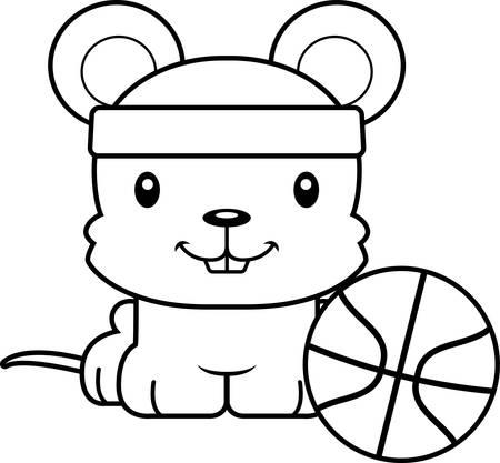 rata caricatura: Un jugador de baloncesto del rat�n de dibujos animados sonriendo.