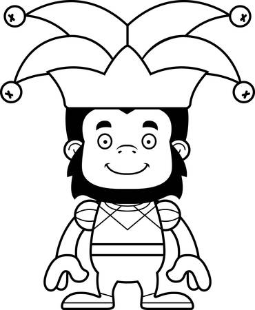 A cartoon jester gorilla smiling.