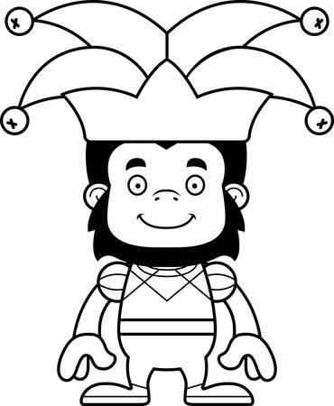 A cartoon jester gorilla smiling. Reklamní fotografie - 44739629