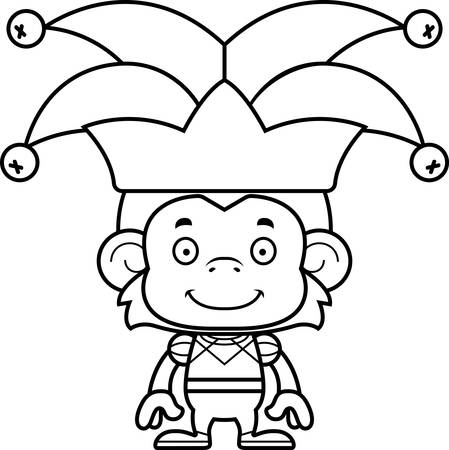 A cartoon jester monkey smiling. Ilustrace