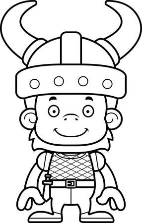 orangutan: A cartoon Viking orangutan smiling.