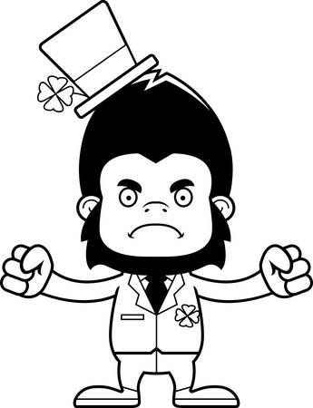 animal st  patricks day: A cartoon Irish gorilla looking angry. Illustration