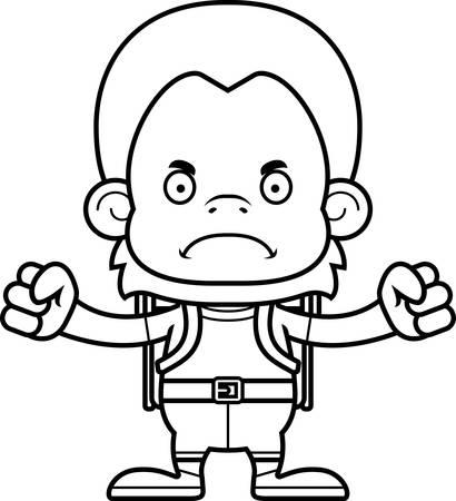 A cartoon hiker orangutan looking angry.