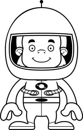 sasquatch: A cartoon astronaut sasquatch smiling. Illustration