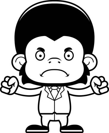 businessperson: A cartoon businessperson chimpanzee looking angry. Illustration