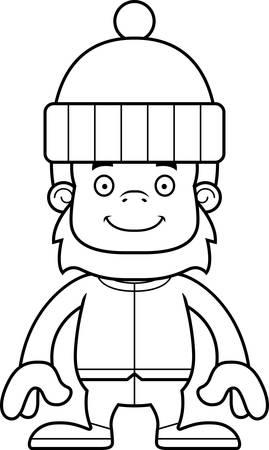sasquatch: A cartoon winter sasquatch smiling.