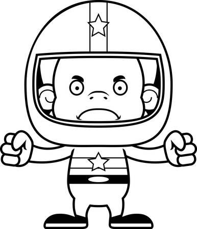 race car driver: A cartoon race car driver orangutan looking angry.