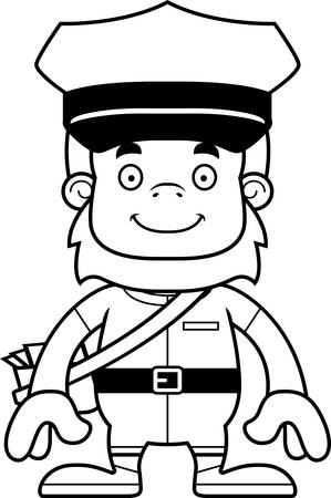 Een cartoon postbode Sasquatch glimlachen.