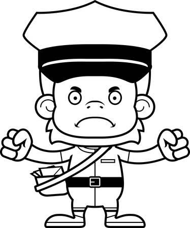 A cartoon mail carrier orangutan looking angry.