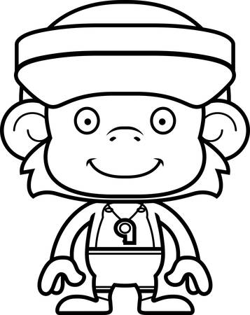 hat with visor: A cartoon lifeguard monkey smiling.