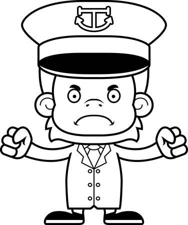 orangutan: A cartoon boat captain orangutan looking angry.
