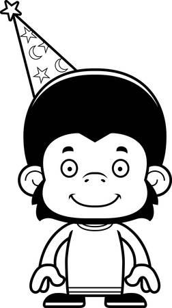 A cartoon wizard chimpanzee smiling.