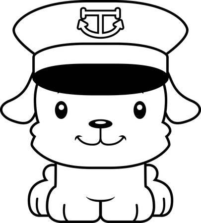 barco caricatura: A cartoon boat captain puppy smiling.