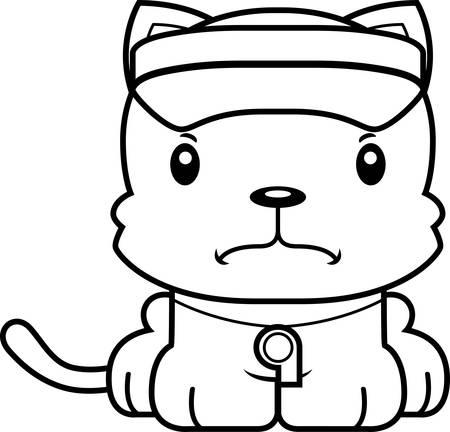 lifeguard: A cartoon lifeguard kitten looking angry. Illustration