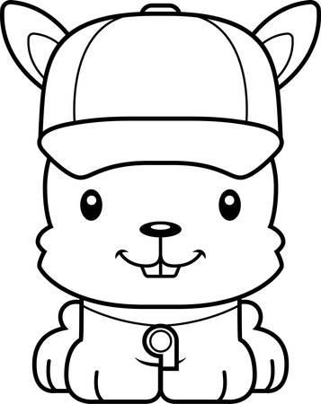 A cartoon  bunny smiling. Illustration