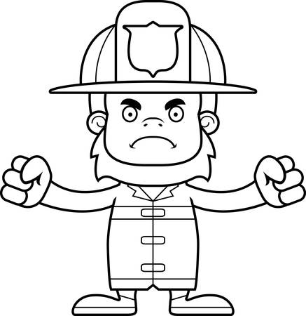 sasquatch: A cartoon firefighter sasquatch looking angry.