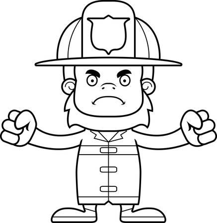 sasquatch: A cartoon firefighter sasquatch looking angry.