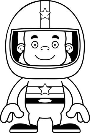 sasquatch: A cartoon race car driver sasquatch smiling.