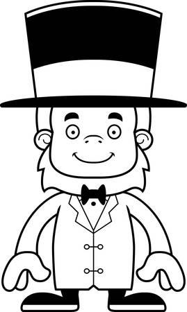 sasquatch: A cartoon ringmaster sasquatch smiling.
