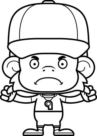 A cartoon  monkey looking angry.