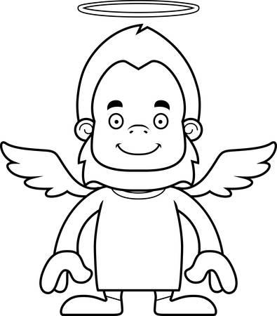 sasquatch: A cartoon angel sasquatch smiling. Illustration