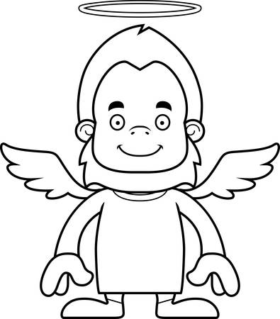 A cartoon angel sasquatch smiling. Illustration