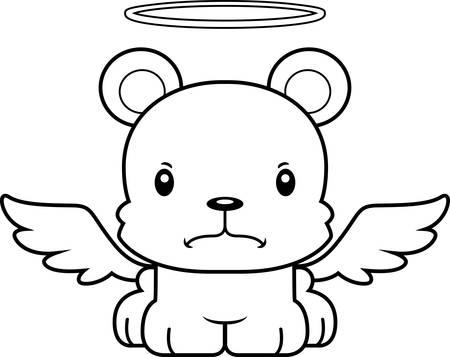 angry angel: A cartoon angel bear looking angry.