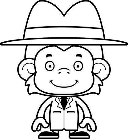 A cartoon detective monkey smiling. Çizim