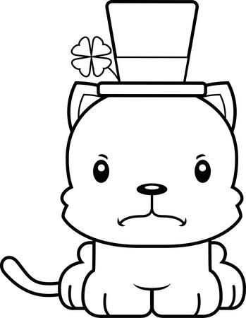 animal st  patricks day: A cartoon Irish kitten looking angry. Illustration