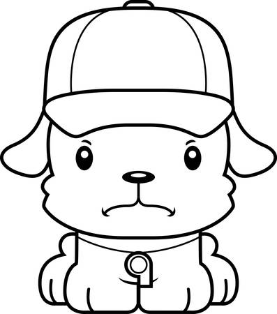 A cartoon  puppy looking angry. Illustration