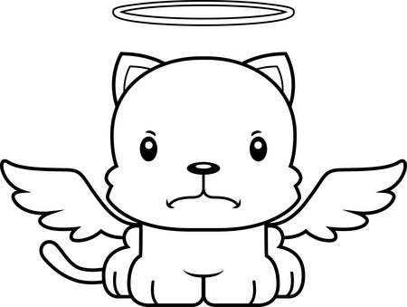 angel cat: A cartoon angel kitten looking angry.