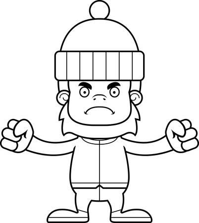 sasquatch: A cartoon winter sasquatch looking angry.