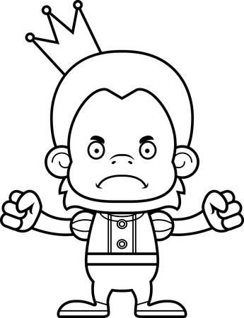 orangutan: A cartoon prince orangutan looking angry.