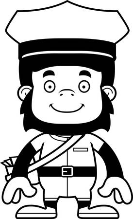 mail carrier: A cartoon mail carrier gorilla smiling.