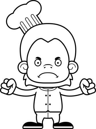 orangutan: A cartoon chef orangutan looking angry. Illustration
