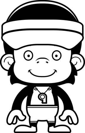 lifeguard: A cartoon lifeguard chimpanzee smiling.
