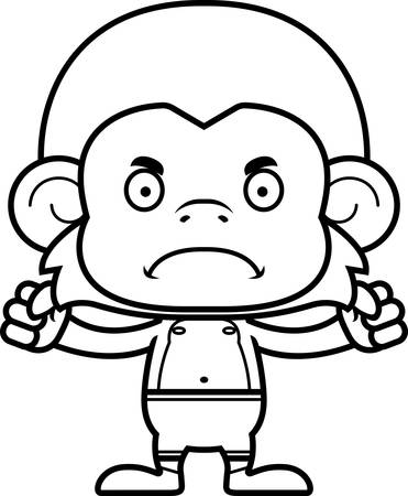 monkey suit: A cartoon monkey looking angry in a swimsuit.