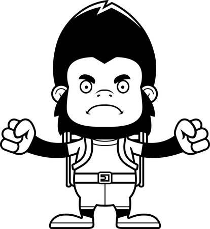 A cartoon hiker gorilla looking angry.