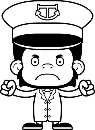 barco caricatura: A cartoon boat captain chimpanzee looking angry.