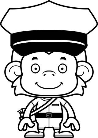 mail carrier: A cartoon mail carrier monkey smiling. Illustration