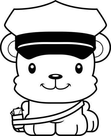 A cartoon mail carrier bear smiling. Ilustração